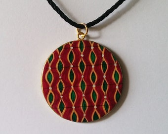 hand-painted pendant purple and green vintage fabric