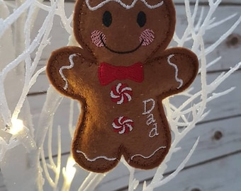 Personalised gingerbread man tree decoration - Boy and Girl version