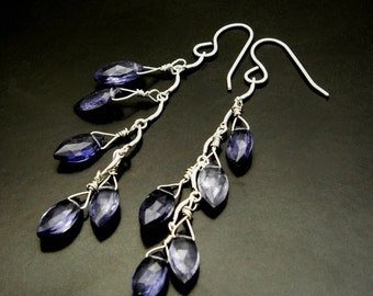 SAPPHIRE LEAVES ~ Blue Sapphire Iolite, Sterling Silver Earrings