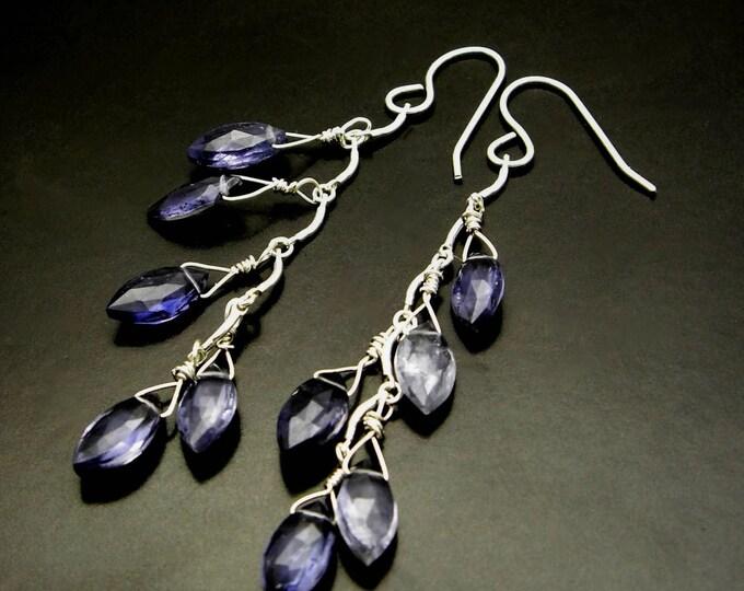 SAPPHIRE LEAVES ~ Blue Sapphire Iolite, Sterling Silver Earrings