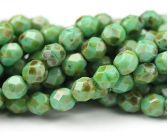 Czech Glass Beads Fire Polished Faceted Rounds 6mm Picasso Teal Green (25) CZF504