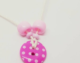 Pink button necklace