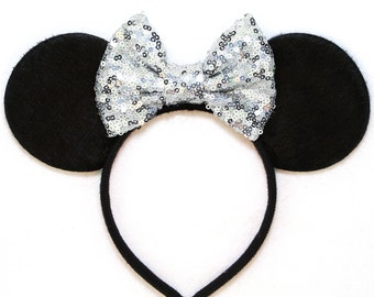 Minnie Mouse Ears Silver Sequin Bow - Mickey Mouse Ears Disney Ears Minnie Mouse Headband Sequin Minnie Mouse Bow Mickey Ears Minnie Ears