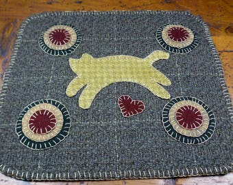 Leaping Kitty Penny Folk Art Penny Rugs by Just Pennies by Linda - Finished Rug