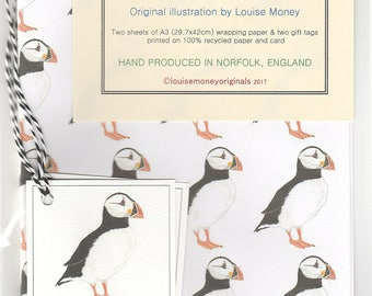 Puffin wrapping paper. Gift wrap with wrapping paper. Seabird wrapping paper. wrapping paper with a puffin. puffin gift. puffin gift wrap