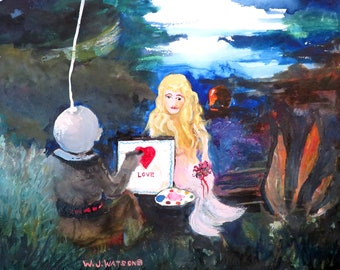 "REDUCED PRICE  =====    Original Watercolor by W. J. Watson, ""Diver making a valentine for his Mermaid"""
