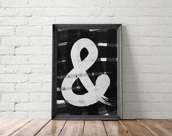 Ampersand Print, Brush Lettering Print, Black and White Printable, Minimalist Poster, Minimalist Wall Art, Minimalist Home Decor