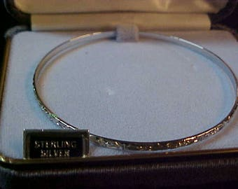"""Vintage Sterling Silver Narrow Bangle- hand Etched- Never Used- In Original Grey Velvet Box- As Well- 2 5/8"""" Width-- #302"""