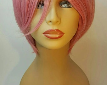 Pink Wig, Short Pink Wig, Long Textured Bangs, Sweeping Bangs, A Textured Layered Look that Swings and Moves with Body