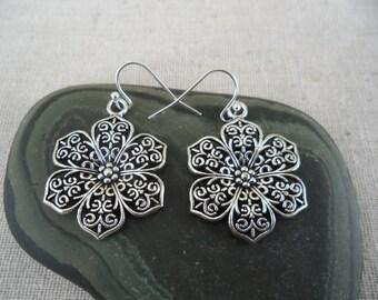 Silver Flower Earrings - Gypsy Boho Chic Jewelry - Silver Filigree Earrings - Bohemian