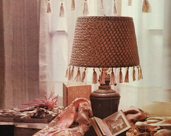 Crochet Lampshade Cover Pattern Crochet Lamp Shade Vintage Pattern  70s Pattern French Style lamp shade pattern