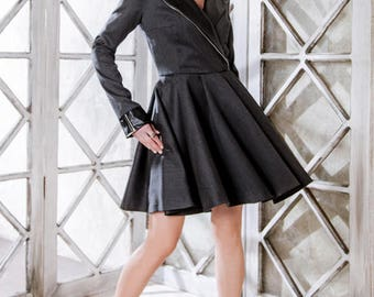 Leather jacket dress by Queensense