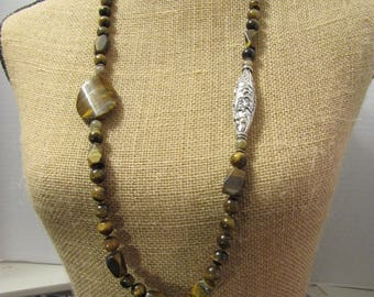 Tigers Eye & Sterling Silver Dragon Bead