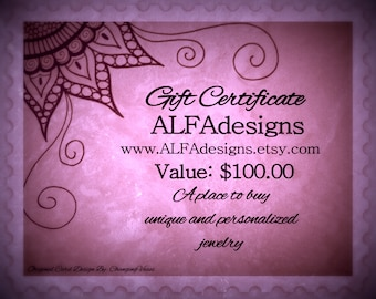100 Dollars Gift Certificate to OOAK Handmade Jewelry Shop ALFAdesigns, Gift Under 100 Dollars, Last minute gift for woman, Easy gift card