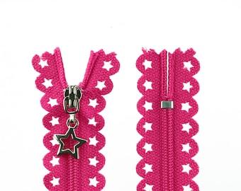 1 zip with stars 25 cm pink