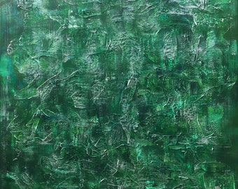 Misty Woods - 100cm x 100cm Original abstract painting using green and silver acrylic paints and clay on canvas.