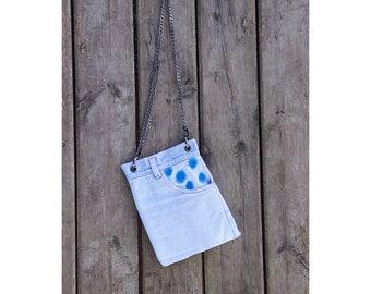 Denim Bag Clutch, Cross Body bag With Chain Strap, Denim Bag from old jeans, Back Pocket, Quilted Bag, Sling, Slouch bag