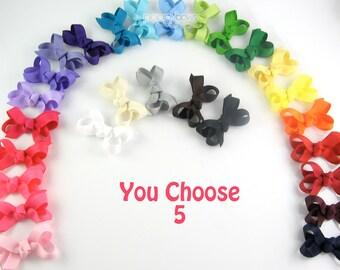 PICK 5 - Toddler Hair Bows - small hair bows - baby hair bows set - girl bows - baby hair clips - infant hair bows alligator clips - AM