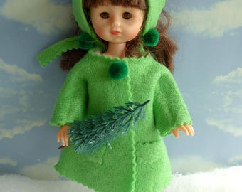 Handmade CASHMERE DOLL COAT with Matching Scarf for all 7.5-9in/19-23cm dolls like Ginny, Licca Chan, Riley Kish, early Skipper