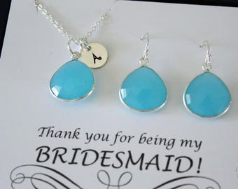 6 Monogram Bridesmaid Necklace and Earring set Blue, Bridesmaid Gift, Aqua Blue Gemstone, Sterling Silver, Initial Jewelry, Personalized