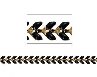 Gold tone enameled Black mesh COB by 50cm chain