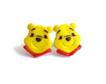 Winnie The Pooh Earrings, Yellow Earrings, Teddy Bear Earrings, Cute Earrings, Polymer Clay Earrings, Small Girls Earrings, Funny Jewelry
