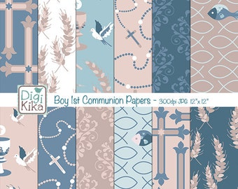 Boy First Communion Digital Papers - Tileable / Seamless Pattern - website background, textile print, wrapping paper - Instant Download