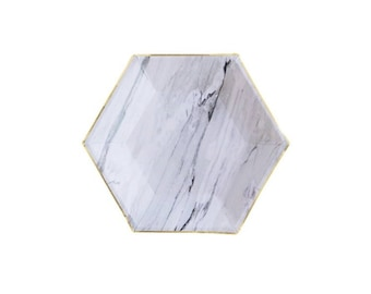 Goddess, Marble, Hexagon, Paper Plates, Small, Tableware, Engagement, Modern, Party, Decor, Supplies, Harlow and Grey