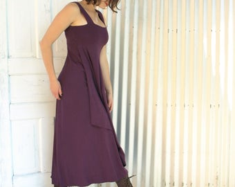 Organic Long Dress - Purple Tank Dress - Full Length Bamboo & Organic Cotton Dress - Custom Made Long Dress by Yana Dee