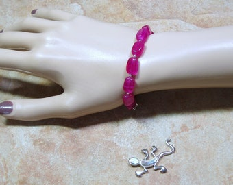 Genuine Earth Mined 127.00 Carats of Red ruby Gemstones, 925 Silver Bracelet