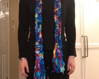 Turquoise Scarf with Rainbow Flecks and Tassels