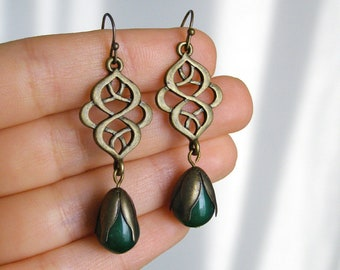 Jadeite drop earrings, Jade dangle earrings, Lace statement, Green gem stone, Simple elegant india jewelry, Emerald brass oriental gemstone
