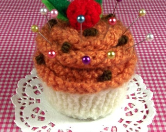 CUPCAKE KNITTING PATTERN Pincushion needlecraft knit crochet Ornament Toy Amigurumi Food - Pumpkin - dessert pdf Pattern Instant Download