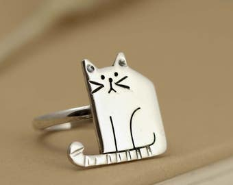 Sterling Silver Cat Ring - Cat Jewellery - Animal Ring - Statement Ring