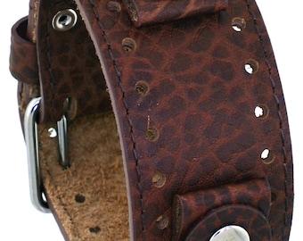 Rev Riverside Buffalo RIV-BB 22mm Distressed Brown Wide Leather Cuff Band