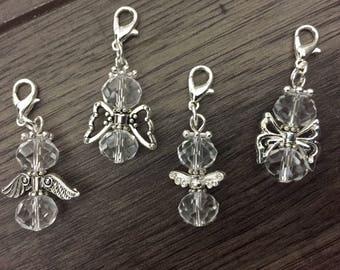 Angel charm-glass angels-guardian angel-swarovski element glass angels-