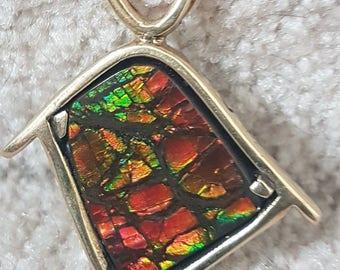 ammolite pendant ammolite in 18k gold ammolite gemstone