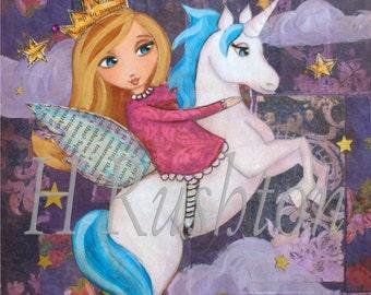 Unicorn Print, Unicorn, Unicorn Wall Art, Unicorn Decor,  Nursery Wall Art, Children Decor, Art Print - Size 8 x 10 or 5x7 by HRushton