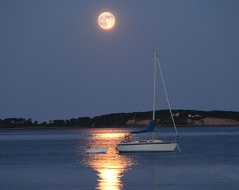 Cape Cod Photography Moon over Pleasant Bay, Orleans, MA