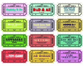 Printable Kids coupons with extra blank coupons. 24 pre-designed coupons and 12 blanks