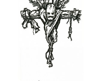 "Hand-pulled Linocut - ""Doll"""