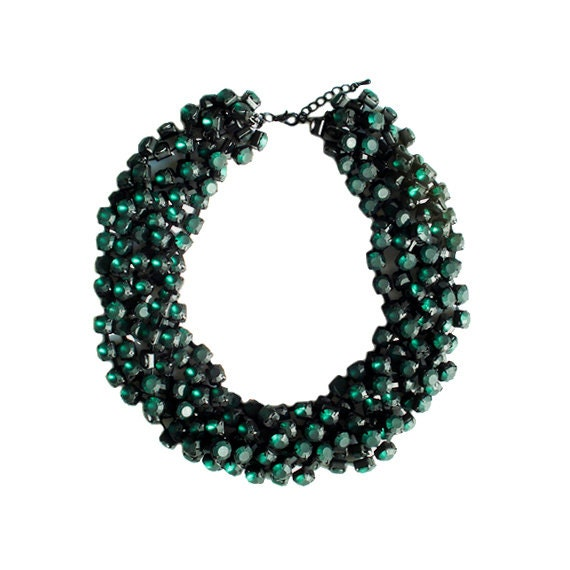 Frosted Emerald Green Rhinestone Chain Necklace