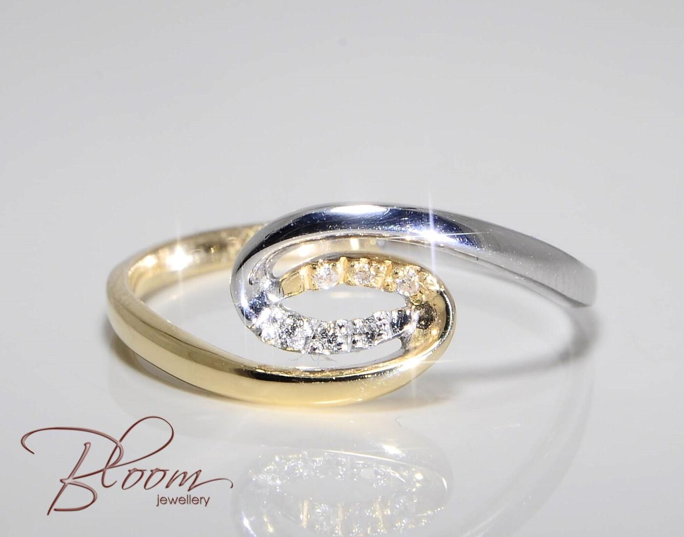 Yin Yang Gold Diamond Ring 18k Solid Gold Ring White Yellow