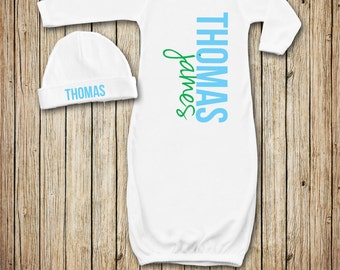Baby Boy Gown, Personalized Infant Gown, Take Home Outfit, Newborn Gown, You Choose the Design Colors!