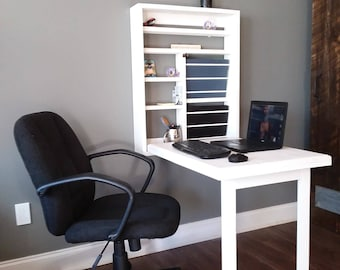 """Pro Office Murphy Computer Work Station Compact Folding Handcrafted Desk """"Zero Footprint"""" US Made Solid Eastern White Pine"""