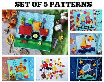SET of 5 Pattern Busy Book | Quiet Book | Felt Busy Book | Toddler book | Activity Book | Fabric quiet book | Gift for Kids