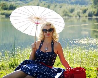 Summer Dress Navy Nautical Dress Anchor Sailor Dress Pin Up Dress Plus Size Dress Rockabilly Dress Summer Dress Sun Party Dress Swing Dress