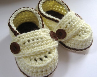 Crochet Baby Booties Little Button Loafers - Cream and Chocolate