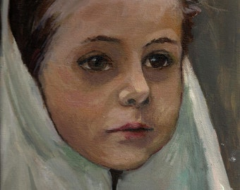 Young Afghan Girl Art Print  from my original oil painting,fine art handsigned 8X10,portrait,child,girl face, by artist Patty Fleckenstein