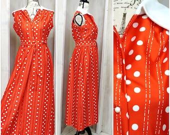 Vintage 70s summer dress / Yves Jennet / red polka dot maxi dress / retro /  mod / size Small /  4 / 6